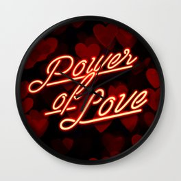 Inspirational love quotes retro neon sign, Valentine's red black hearts bokeh pattern Wall Clock