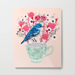 Bird on a Teacup by Andrea Lauren  Metal Print