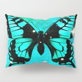 Bluish Green Butterfly with Stars Pillow Sham