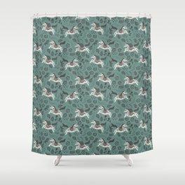Scandinavian Horses Shower Curtain