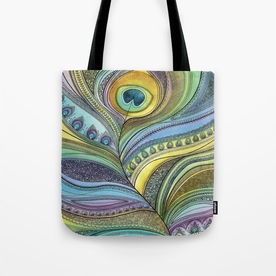 Intricate Peacock Feather Tote Bag