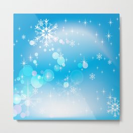 Winter Snowflake Fantasy Pattern Design Metal Print