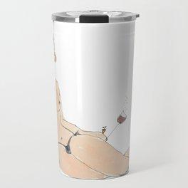 Girl with redwine Travel Mug