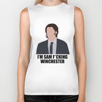 sam winchester Biker Tanks featuring Sam F*cking Winchester by SuperSamWallace