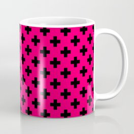Black Crosses on Hot Neon Pink Coffee Mug