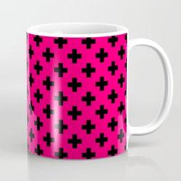Black Crosses on Hot Neon Pink Coffee Mug