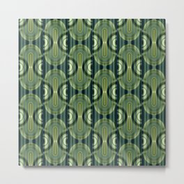 Pattern Retro Style green Metal Print