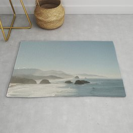 Hazy Morning at Cannon Beach, Oregon - Fine Art Film Travel Photography Rug
