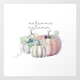 welcome autumn orange pumpkin Art Print
