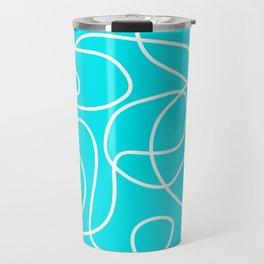 Doodle Line Art | White Lines on Bright Turquoise Travel Mug