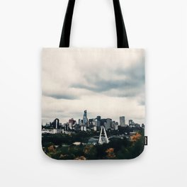Edmonton Alberta, Digital Painting of a Very Cloudy Downtown just Before an Autumnal Storm Tote Bag