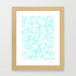 Spots - White and Celeste Cyan Framed Art Print
