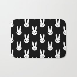 Bunny Rabbit black and white spring cute character illustration nursery kids minimal floral crown Bath Mat