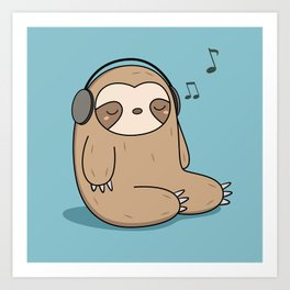 Kawaii Cute Sloth Listening To Music Art Print