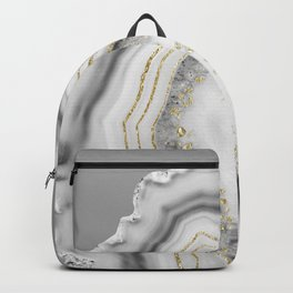White Agate Gold Foil Glam #3 #gem #decor #art #society6 Backpack
