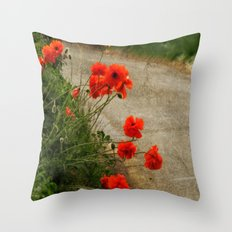 Roadside Poppies. Throw Pillow