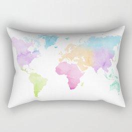 Multicolored watercolor world map Rectangular Pillow
