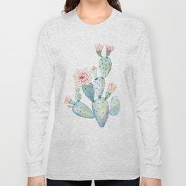 Pastel watercolor prickly pear cactus Long Sleeve T-shirt