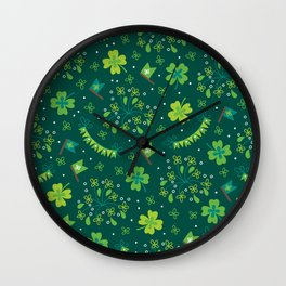 St Patrick's Day Lucky Shamrock Party Wall Clock