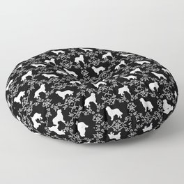 Bernese Mountain Dog florals dog pattern minimal cute gifts for dog lover silhouette black and white Floor Pillow