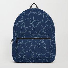 Star motif sashiko stitch pattern. Backpack
