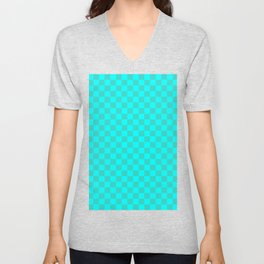 Cyan and Turquoise Checkerboard Unisex V-Neck