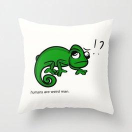 humans are weird (chameleon) Throw Pillow