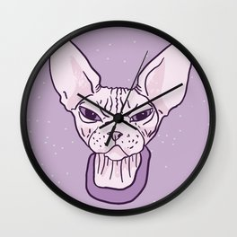Lilac Point Seal Grumply Wrinkly Sphynx Kitty - Hairless Cat Illustration - Bad Cattitude - Line Tattoo Art Wall Clock