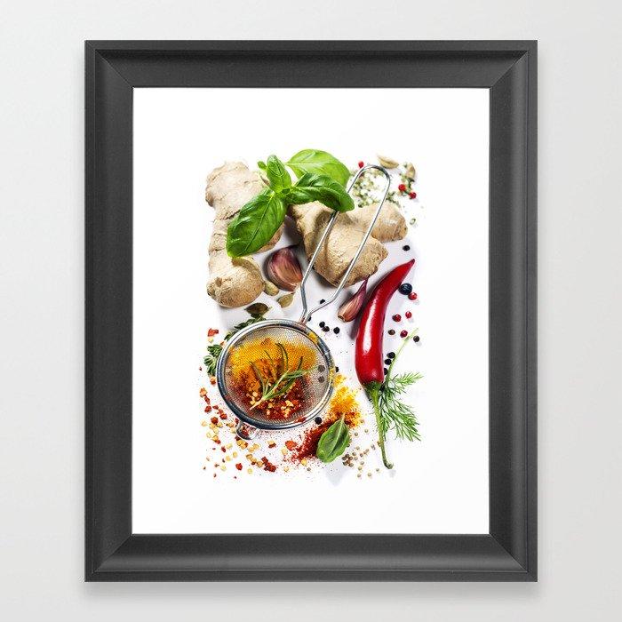 Herbs and spices selection, close up Gerahmter Kunstdruck