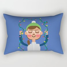 Holiday with Lights Rectangular Pillow