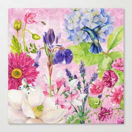 English Garden pink Canvas Print