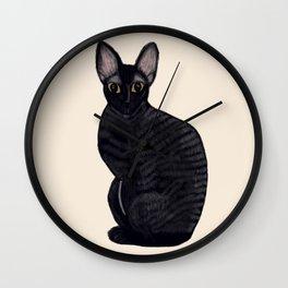 Black Rex Cat Wall Clock