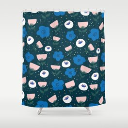 Scandi Floral pattern Shower Curtain