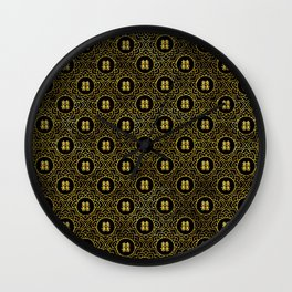 Gold Double Happiness Symbol in lotus pattern Wall Clock