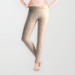 Peach / Apricot and White Polka Dot Pattern Leggings