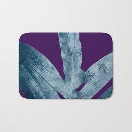 Midnight Sepia Navy Blue Purple Fern Bath Mat