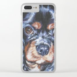 Beautiful black and tan Cavalier King Charles Spaniel Dog Painting by L.A.Shepard Clear iPhone Case