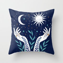 Sun Moon Stars  Throw Pillow