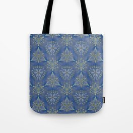 Blue flower Swirl pattern Tote Bag