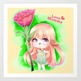 Happy Mother's Day Furry Girl Art Print