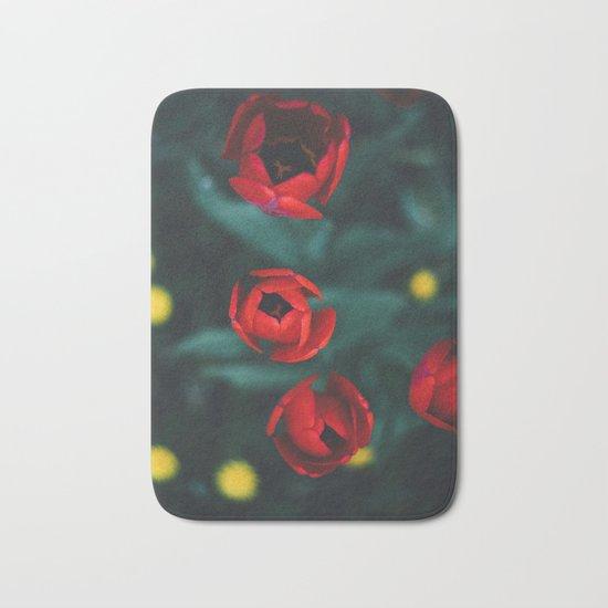 Red roses yellow Bath Mat
