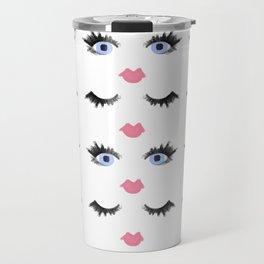 The Eyes Have It - Blue Eyes Eyelash Pattern Travel Mug