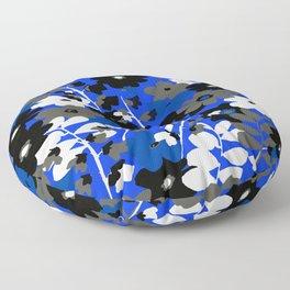 SUNFLOWER TRELLIS BLUE BLACK GRAY AND WHITE TOILE Floor Pillow