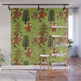 Happy foxes in the forest - Cute Fox Pattern Wall Mural