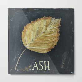 Hand-Painted Fall Ash Leaf Metal Print