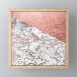 Stylish elegant white faux rose gold modern marble Framed Mini Art Print