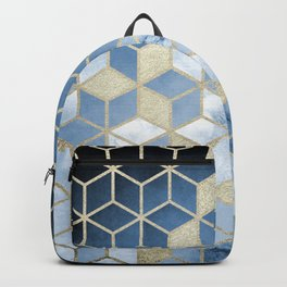 Shades Of Blue Cubes Pattern Backpack