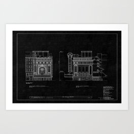Chicago Theatre Blueprint 4 Art Print