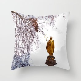 Statue of a saint in gold Throw Pillow