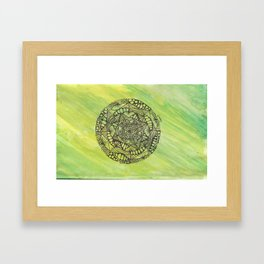 green and yellow mandala doodle Framed Art Print
